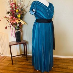 Blue, aqua striped dress.